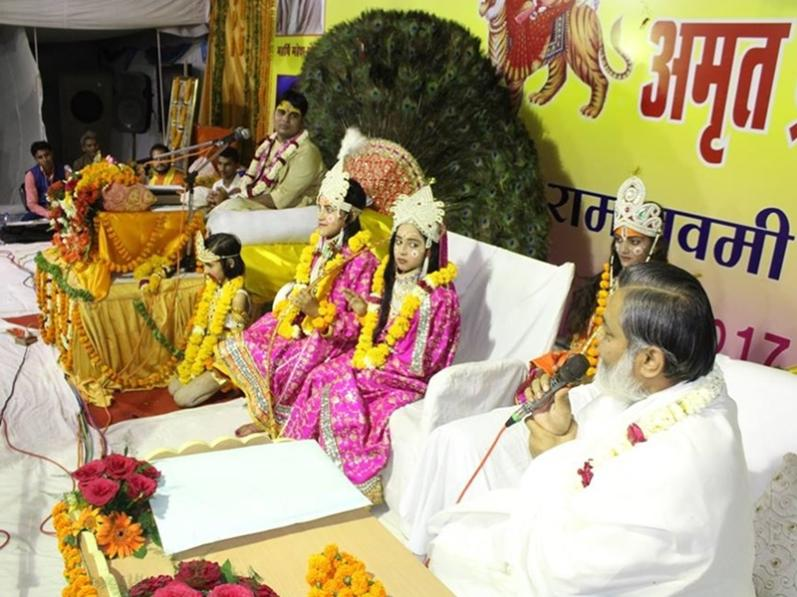 Brahmachari Girish Ji is addressing on the occasion of Shri Ram Navmi Celebration at Bhopal on  5th april 2017 Ram Navami day.
