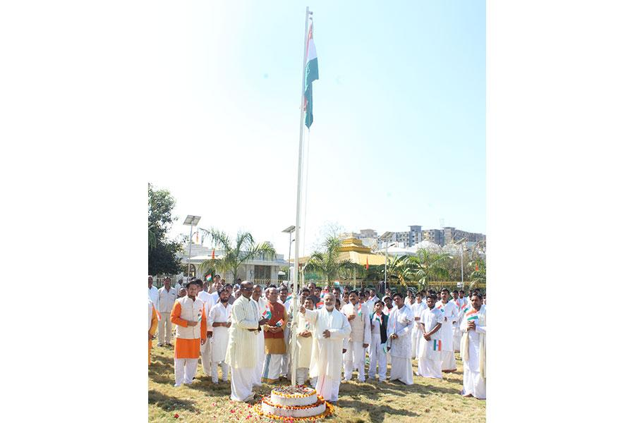 Brahmachari Girish Ji has hoisted Indian Flag on the auspicious day of Republic Day of India with Maharishi Vedic Pundits at Gurudev Brahmanand Saraswati Ashram, Chhan, Bhopal.