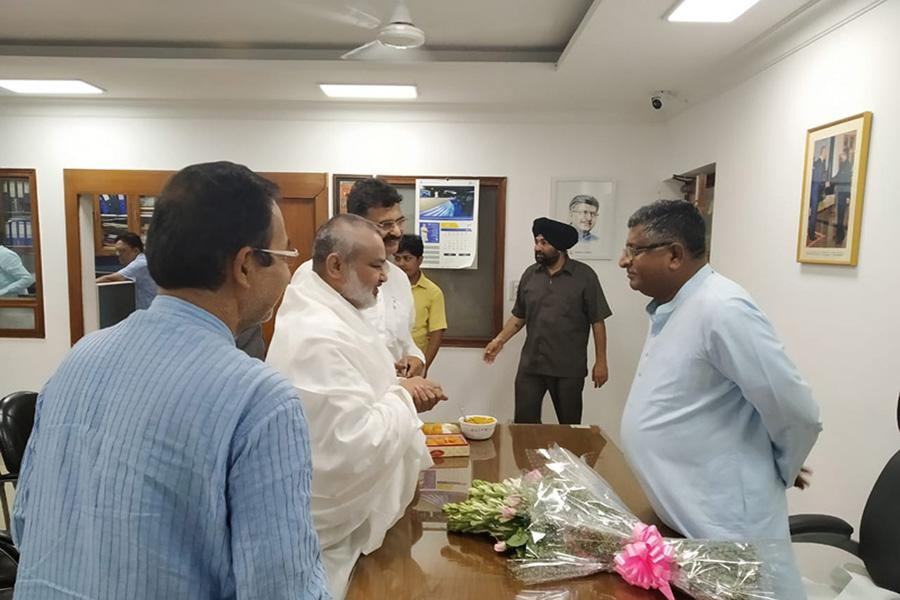 Brahmachari Girish Ji has visited Honourable Shri Ravi Shankar Prasad Ji and greeted him for his victory and grand victory of BJP and NDA