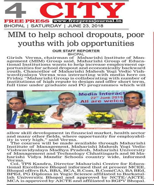 MIM to help school droupouts, poor youth with job opportunities.